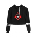 Fashion Comic Fire Skull Print Striped Long Sleeve Cropped Drawstring Hoodie