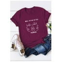 Abstract Woman Face Letter MULTIFACETED Print Short Sleeve Cotton T-Shirt