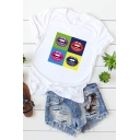 Street Style Funny Lip Printed Basic Short Sleeve Cotton Loose T-Shirt