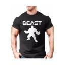 Men's Fashion Sport Giant Print Letter BEAST Round Neck Short Sleeve Slim Fitness T-Shirt
