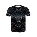 New Stylish Skull Print Round Neck Short Sleeve Black T-Shirt for Men