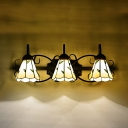 Rustic Style Cone Wall Light 3 Lights Glass Sconce Light with Leaf for Dining Room Hotel