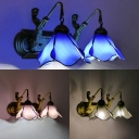 Blue/Pink/Clear Flower Sconce Light 2 Lights Tiffany Style Glass Wall Lamp with Mermaid for Bedroom