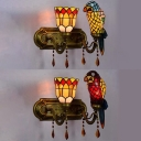 Restaurant Bell Parrot Wall Light Stained Glass 2 Lights Tiffany Style Blue/Red Sconce Light