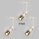 (3 Pack)Metal Caged LED Ceiling Lamp 1 Head Industrial Track Lighting in White/Warm White for Cafe Bar