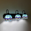 Dome Living Room Wall Sconce Stained Glass 3 Lights Mediterranean Style Wall Light in Blue