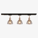 3/4 Lights Dome Ceiling Light with Cafe Antique Metal LED Track Lighting in Black for Restaurant
