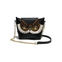 Fashion Creative Owl Pattern Rivet Embellishment Mini Sling Crossbody Purse 19*7*18 CM