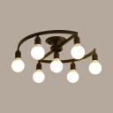 Creative Orb Semi Flush Mount Light Metal 7/9 Lights Black Ceiling Light for Restaurant Bedroom
