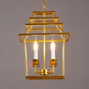Gold Candle Chandelier Light 4 Lights Industrial Metal Pendant Lighting for Living Room