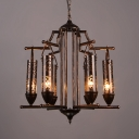 6 Lights Cylinder Chandelier Antique Metal Chandelier Lamp in Bronze for Living Room