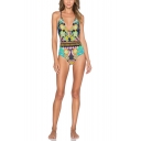 Womens New Trendy Floral Printed Crisscross Back Blue One Piece Swimsuit Swimwear