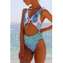 Womens Trendy Ruffled Hem Knotted V-Neck Cutout Blue One Piece Swimsuit Swimwear