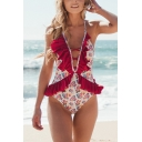 Womens New Stylish Ruffled Hem Floral Printed Halter Neck Low Back Red One Piece Swimsuit