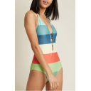 Stylish Colorblock Striped Printed Halter Neck Cut Out Front One Piece Swimsuit Swimwear for Women