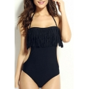 Womens New Fashion Tassel Hem Halter Neck Knotted Back Black One Piece Swimsuit