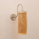 Vintage Style Cylinder Wall Light Wood and Metal Single Light Beige Wall Lamp for Dining Room Living Room