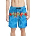 Men's Summer Tropical Floral Print Drawstring Waist Blue Swim Trunks with Liner