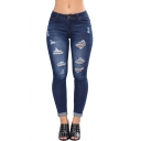 Womens New Stylish Solid Color Distressed Ripped Rolled Cuff Skinny Fit Jeans