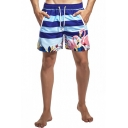 New Trendy Flamingo Printed Drawstring Waist Men's Blue Beach Swim Shorts