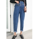 Hot Fashion High Rise Tied Waist Solid Color Blue Carrot Jeans for Women