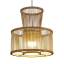Drum Shape Rattan Ceiling Light Bedroom Single Light Vintage Style LED Pendant Light Fixture in Beige
