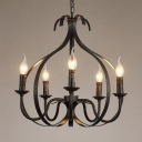 Classic Style Onion Shape Chandelier Metal 5 Lights Pendant Lighting in Black for Living Room Foyer