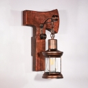 Rustic Lantern Wall Lamp Metal One Light Rustic Copper Wall Sconce with Wooden Base for Restaurant