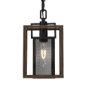 Rectangle Hanging Light with Wooden Frame and Mesh Cage 1 Light Lodge Pendant Lighting in Black