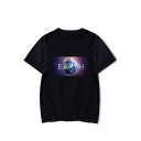 Unique Galaxy Earth Printed Short Sleeve Round Neck Unisex T-Shirt