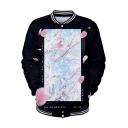 New Stylish Floral Printed Rib Stand-Collar Long Sleeve Black Button-Down Baseball Jacket