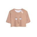 Funny Comic Face Printed Basic Short Sleeve Round Neck Cropped T-Shirt