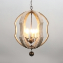 Industrial Style Candle Shape Chandelier 5 Lights Metal and Wood Suspension Light for Restaurant Indoor
