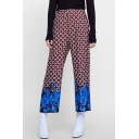 Women's New Fashion Red Circle Printed Casual Loose Wide-Leg Pants