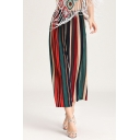 Summer Fashion Colorful Stripe Printed Elastic Waist Cropped Culottes Wide Leg Pants for Women