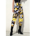 Hip Hop Street Fashion Yellow Camo Printed Drawstring Waist Sport Loose Track Pants for Women