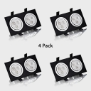 (4 Pack)12/18W 2/3 Heads Recessed Light with Heat Sink Rectangle Flush Mount Recessed in White/Warm