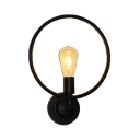 Dining Room Restaurant Ring Wall Sconce Metal Single Light Industrial Black Sconce Light