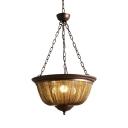 Traditional Domed Shape Chandelier Light 3/5 Lights Metal Hanging Light with Tassel Decoration for Living Room