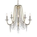 5 Lights Candle Pendant Lighting Traditional Metal Pendant Chandelier with Clear Crystal Beads for Indoor