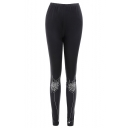 Unique Cool Spider Web Printed Elastic Waist Black Stretch Slim Fit Leggings