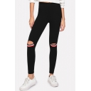 New Trendy Cool Striped Knee Cutout Black Slim Fit Leggings for Women