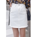 Girls Summer Fashion Stripe Side Fringed Hem Mini A-Line Denim Skirt