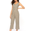 Women's Fashion Classic Plaid Printed V-Neck Button Front Wide-Leg Casual Jumpsuits
