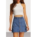 Women's Classic Button Front Dark Blue Mini A-Line Denim Skirt