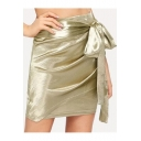 Chic Unique Metallic Gold Bow-Tied Side Ruched Mini Bodycon Skirt
