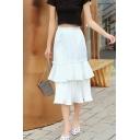 Girls Summer Trendy Solid Color Elastic Waist Tiered Ruffle Midi Skirt