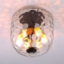 Dimpled Glass Domed Shape Ceiling Light 6 Light Flush Mount Light Fixture for Bedroom Study