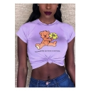 Summer Cute Cartoon Floral Bear Pattern Short Sleeve Cropped T-Shirt