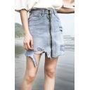Summer Trendy Light Blue Destroyed Ripped Frayed Hem Mini A-Line Denim Skirt